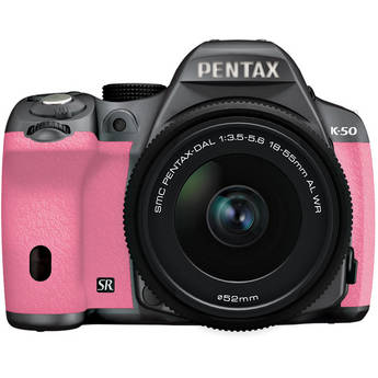 Pentax K-50 Digital SLR Camera with 18-55mm f/3.5-5.6 Lens (Silver/Pink)