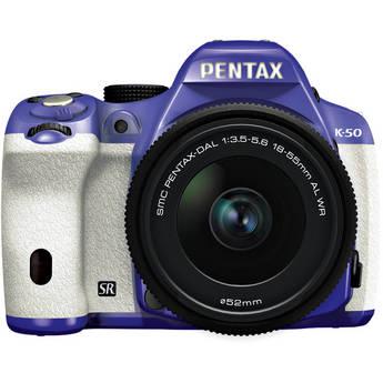 Pentax K-50 Digital SLR Camera with 18-55mm f/3.5-5.6 Lens (Violet/White)