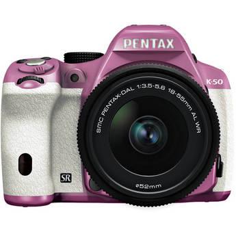 Pentax K-50 Digital SLR Camera with 18-55mm f/3.5-5.6 Lens (Lilac/White)