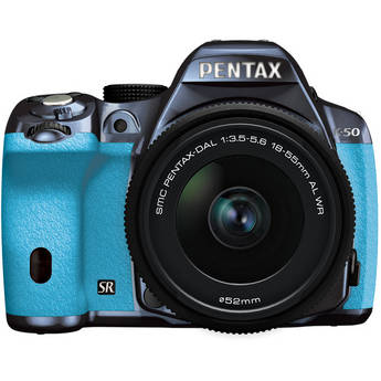 Pentax K-50 Digital SLR Camera with 18-55mm f/3.5-5.6 Lens (Metal Navy/Aqua)