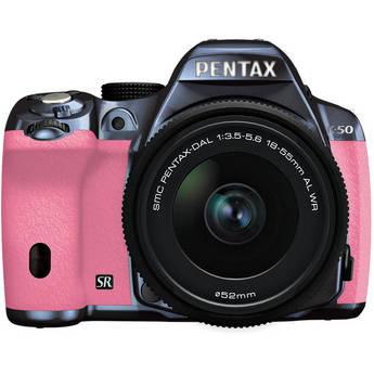 Pentax K-50 Digital SLR Camera with 18-55mm f/3.5-5.6 Lens (Metal Navy/Pink)