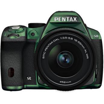 Pentax K-50 Digital SLR Camera with 18-55mm f/3.5-5.6 Lens (Metal Green/Black)
