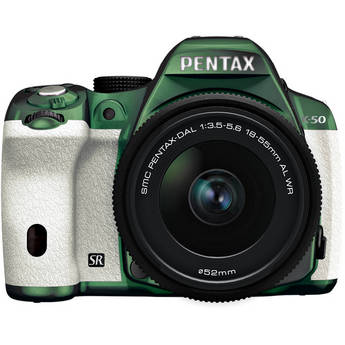 Pentax K-50 Digital SLR Camera with 18-55mm f/3.5-5.6 Lens (Metal Green/White)