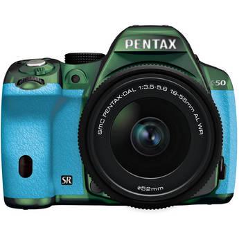 Pentax K-50 Digital SLR Camera with 18-55mm f/3.5-5.6 Lens (Metal Green/Aqua)
