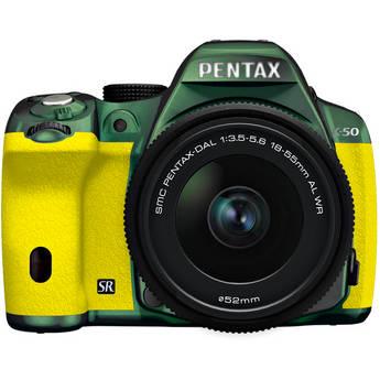 Pentax K-50 Digital SLR Camera with 18-55mm f/3.5-5.6 Lens (Metal Green/Yellow)