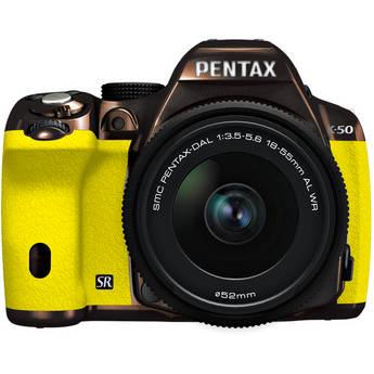 Pentax K-50 Digital SLR Camera with 18-55mm f/3.5-5.6 Lens (Metal Brown/Yellow)