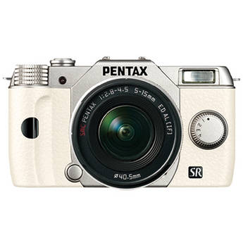 Pentax Q10 Compact Mirrorless Camera with 5-15mm Lens (Silver / White)