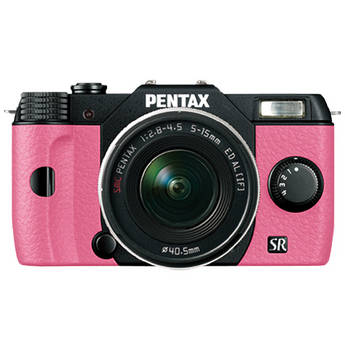 Pentax Q10 Compact Mirrorless Camera with 5-15mm Lens (Black / Pink)