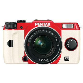 Pentax Q10 Compact Mirrorless Camera with 5-15mm Lens (Red / White)