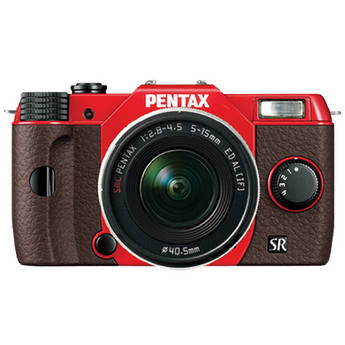 Pentax Q10 Compact Mirrorless Camera with 5-15mm Lens (Red / Brown)