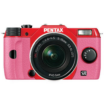 Pentax Q10 Compact Mirrorless Camera with 5-15mm Lens (Red / Pink)