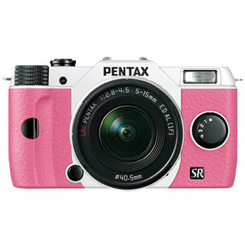 Pentax Q10 Compact Mirrorless Camera with 5-15mm Lens (White / Pink)