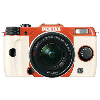 Pentax Q10 Compact Mirrorless Camera with 5-15mm Lens (Orange / White)