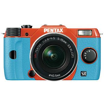 Pentax Q10 Compact Mirrorless Camera with 5-15mm Lens (Orange / Aqua)