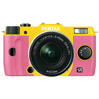Pentax Q10 Compact Mirrorless Camera with 5-15mm Lens (Yellow / Pink)