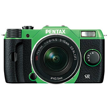 Pentax Q10 Compact Mirrorless Camera with 5-15mm Lens (Green / Black)