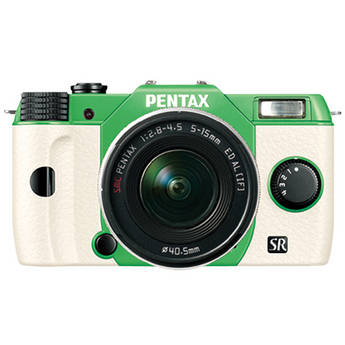Pentax Q10 Compact Mirrorless Camera with 5-15mm Lens (Green / White)