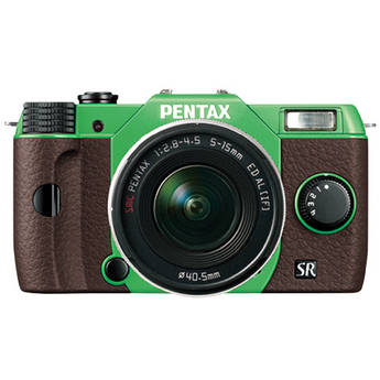 Pentax Q10 Compact Mirrorless Camera with 5-15mm Lens (Green / Brown)