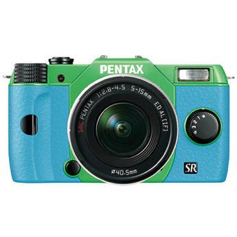 Pentax Q10 Compact Mirrorless Camera with 5-15mm Lens (Green / Aqua)