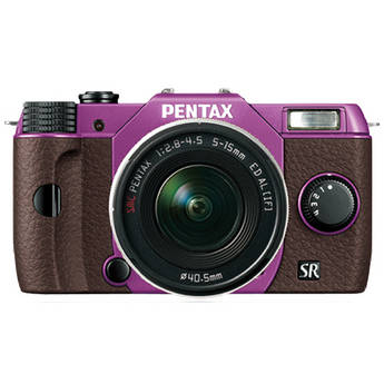 Pentax Q10 Compact Mirrorless Camera with 5-15mm Lens (Purple / Brown)