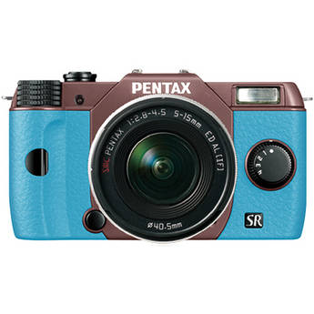 Pentax Q10 Compact Mirrorless Camera with 5-15mm Lens (Cocoa Brown / Aqua)