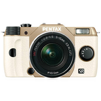 Pentax Q10 Compact Mirrorless Camera with 5-15mm Lens (Sand Beige / White)