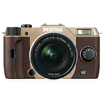 Pentax Q10 Compact Mirrorless Camera with 5-15mm Lens (Sand Beige / Brown)