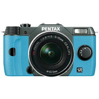 Pentax Q10 Compact Mirrorless Camera with 5-15mm Lens (Olive Green / Aqua)