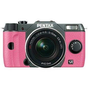 Pentax Q10 Compact Mirrorless Camera with 5-15mm Lens (Olive Green / Pink)