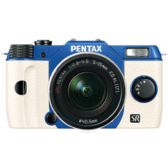 Pentax Q10 Compact Mirrorless Camera with 5-15mm Lens (Sapphire Blue / White)