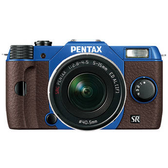 Pentax Q10 Compact Mirrorless Camera with 5-15mm Lens (Sapphire Blue / Brown)