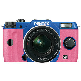Pentax Q10 Compact Mirrorless Camera with 5-15mm Lens (Sapphire Blue / Pink)