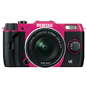 Pentax Q10 Compact Mirrorless Camera with 5-15mm Lens (Cherry Pink / Black)