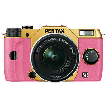 Pentax Q10 Compact Mirrorless Camera with 5-15mm Lens (Gold / Pink)