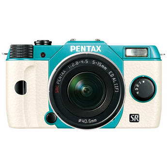 Pentax Q10 Compact Mirrorless Camera with 5-15mm Lens (Mint / White)