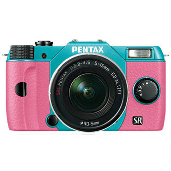 Pentax Q10 Compact Mirrorless Camera with 5-15mm Lens (Mint / Pink)