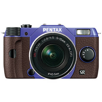 Pentax Q10 Compact Mirrorless Camera with 5-15mm Lens (Violet / Brown)