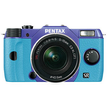 Pentax Q10 Compact Mirrorless Camera with 5-15mm Lens (Violet / Aqua)