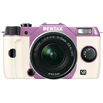Pentax Q10 Compact Mirrorless Camera with 5-15mm Lens (Lilac / White)