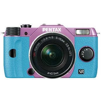 Pentax Q10 Compact Mirrorless Camera with 5-15mm Lens (Lilac / Aqua)