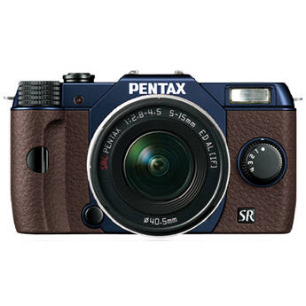Pentax Q10 Compact Mirrorless Camera with 5-15mm Lens (Metal Navy / Brown)