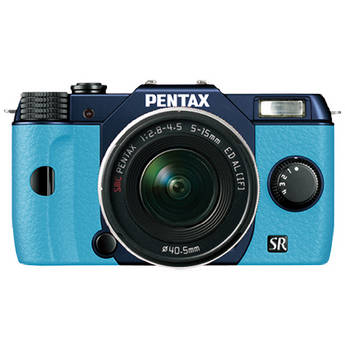 Pentax Q10 Compact Mirrorless Camera with 5-15mm Lens (Metal Navy / Aqua)