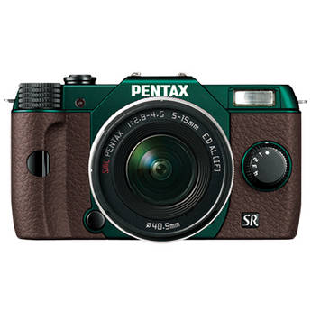 Pentax Q10 Compact Mirrorless Camera with 5-15mm Lens (Metal Green / Brown)
