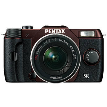 Pentax Q10 Compact Mirrorless Camera with 5-15mm Lens (Metal Brown / Black)