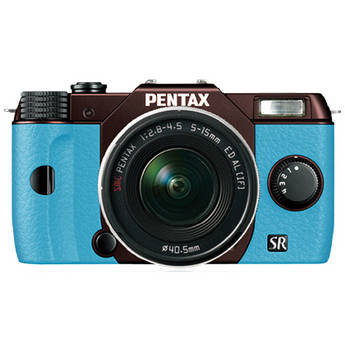 Pentax Q10 Compact Mirrorless Camera with 5-15mm Lens (Metal Brown / Aqua)