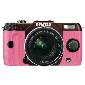 Pentax Q10 Compact Mirrorless Camera with 5-15mm Lens (Metal Brown / Pink)