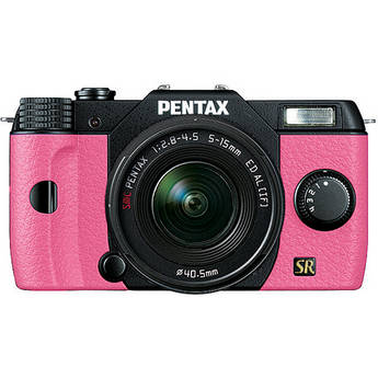 Pentax Q7 Compact Mirrorless Camera with 5-15mm f/2.8-4.5 Zoom Lens (Black/Pink)