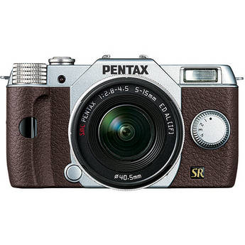 Pentax Q7 Compact Mirrorless Camera with 5-15mm f/2.8-4.5 Zoom Lens (Silver/Brown)