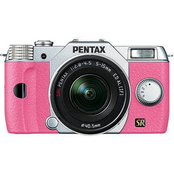 Pentax Q7 Compact Mirrorless Camera with 5-15mm f/2.8-4.5 Zoom Lens (Silver/Pink)
