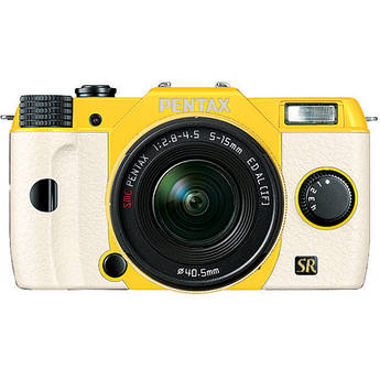Pentax Q7 Compact Mirrorless Camera with 5-15mm f/2.8-4.5 Zoom Lens (Yellow/White)